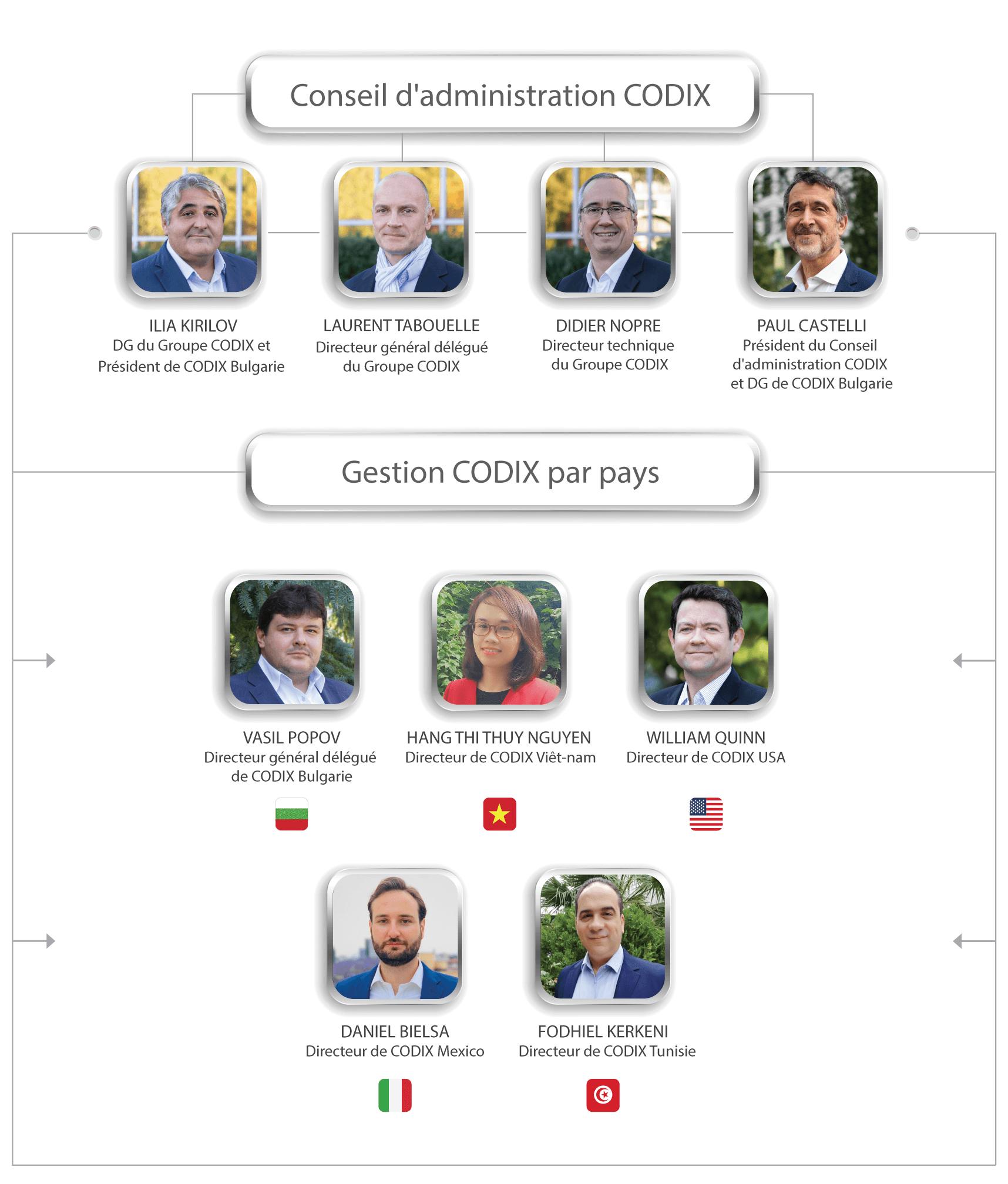 Conseil d'administration et gestion CODIX par pays