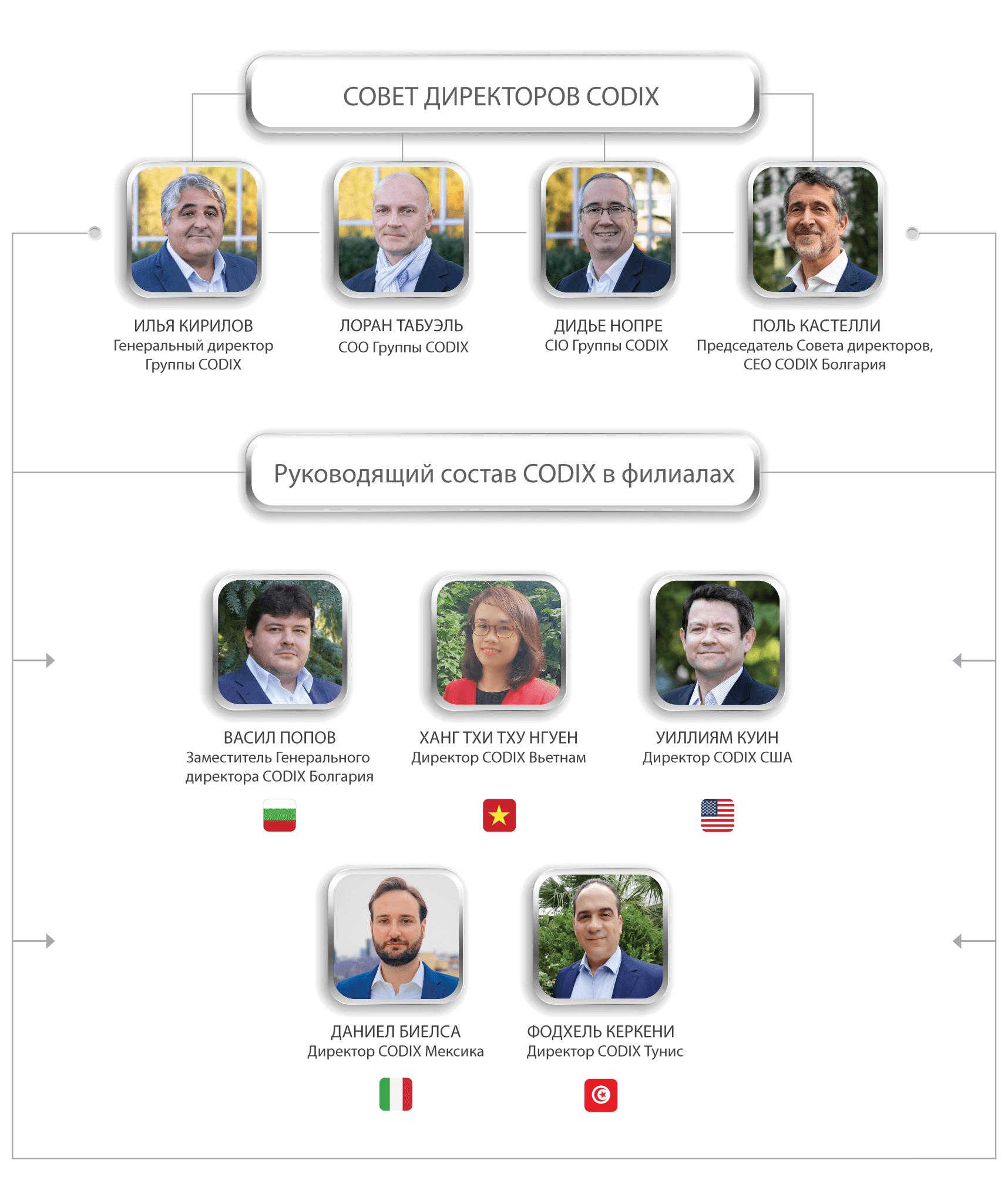Совет директоров CODIX и управленческий состав в странах