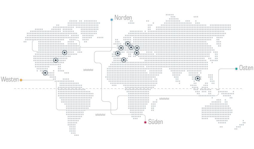 Weltkarte unserer Auslandsfilialen